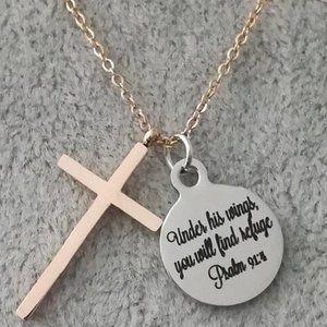 Christian rose gold scripture cross necklace